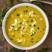 overhead shot of sweet potato butternut squash soup in bowl