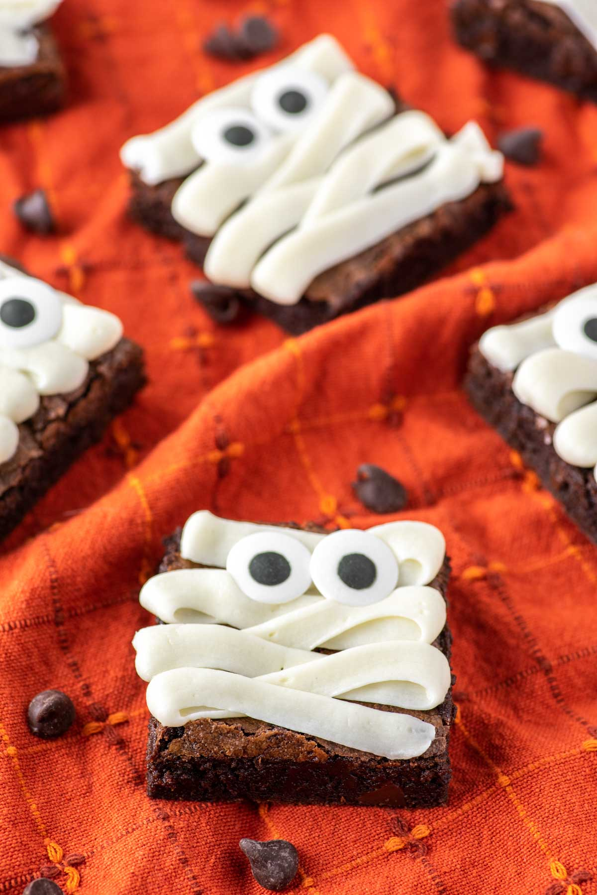 mummy brownies on orange dish towel