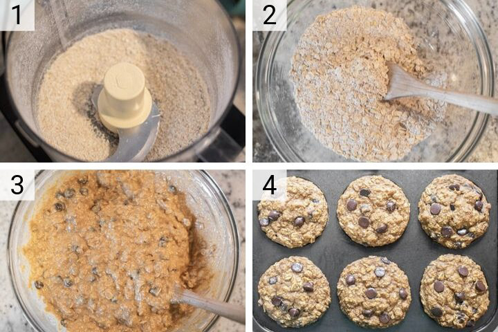 process shots of how to make pumpkin oatmeal muffins