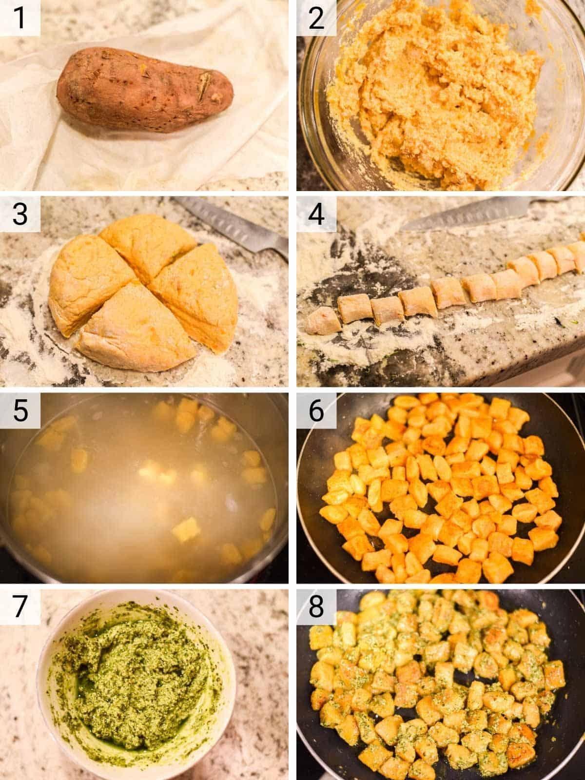 process shots of how to make sweet potato gnocchi