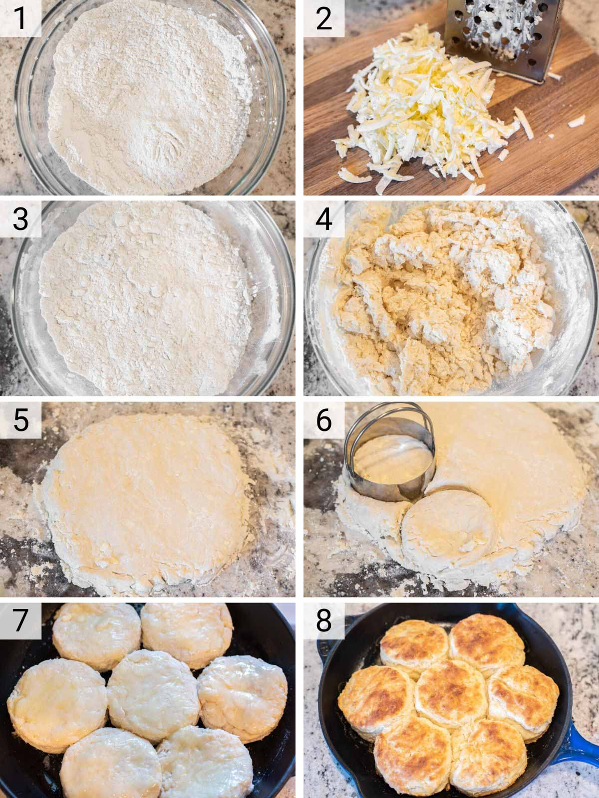 process shots of how to make buttermilk biscuits