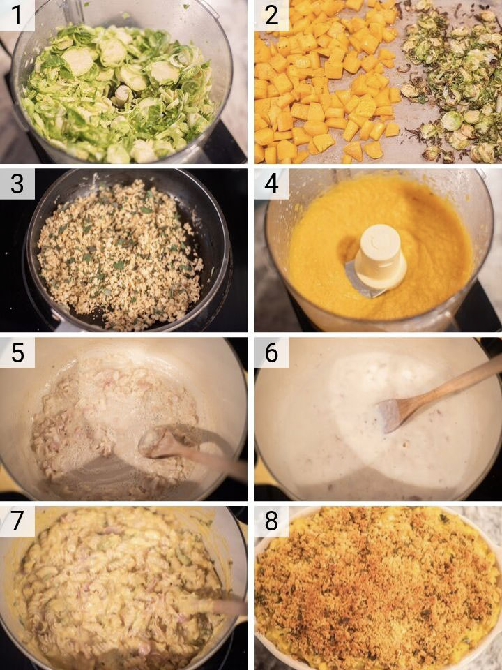 process shots of how to make butternut squash mac and cheese