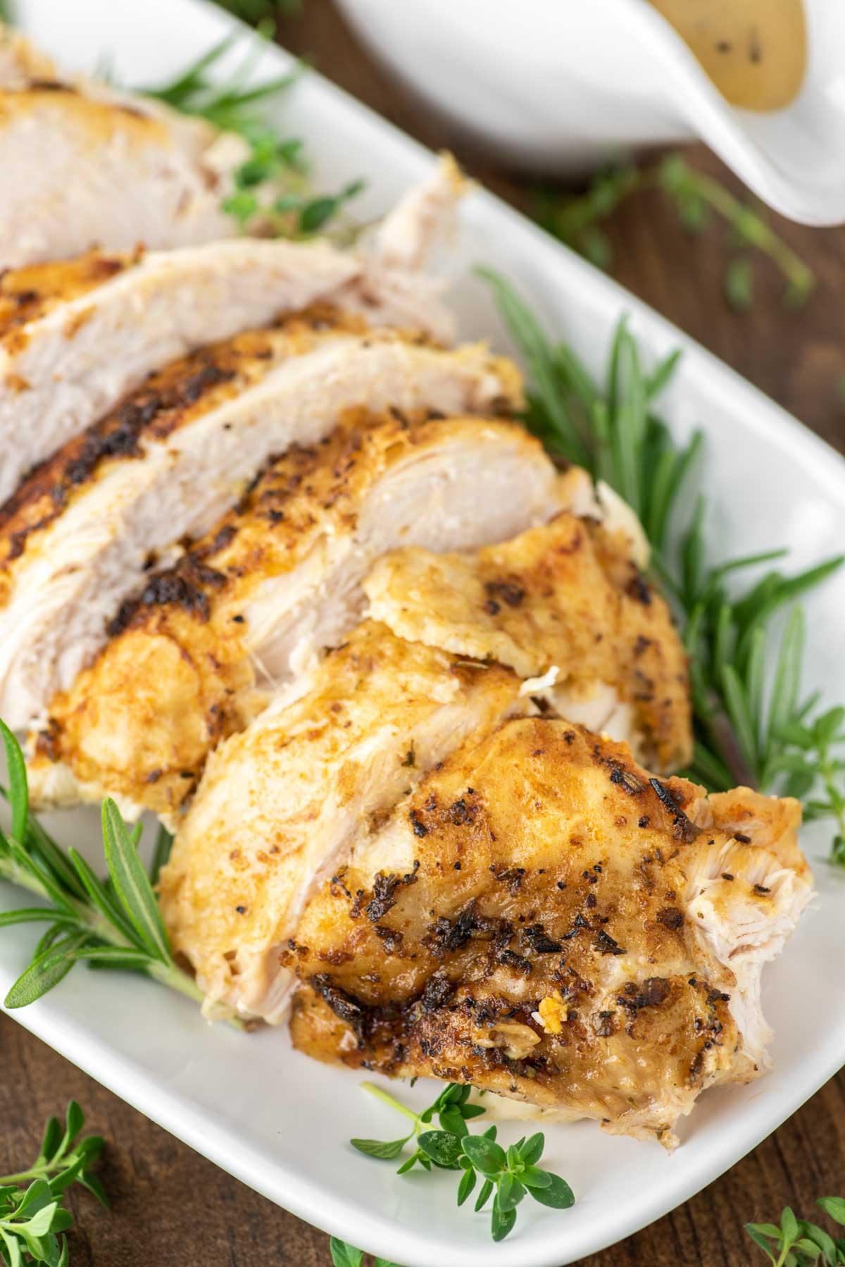 sliced turkey on white plate