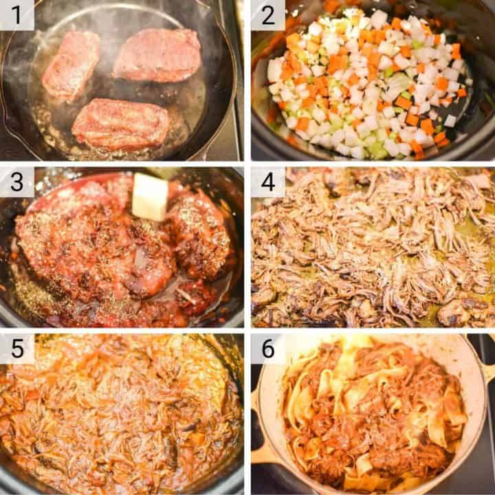 process shots of how to make short rib ragu in a slow cooker