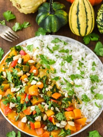 veggie curry with white rice on white plate