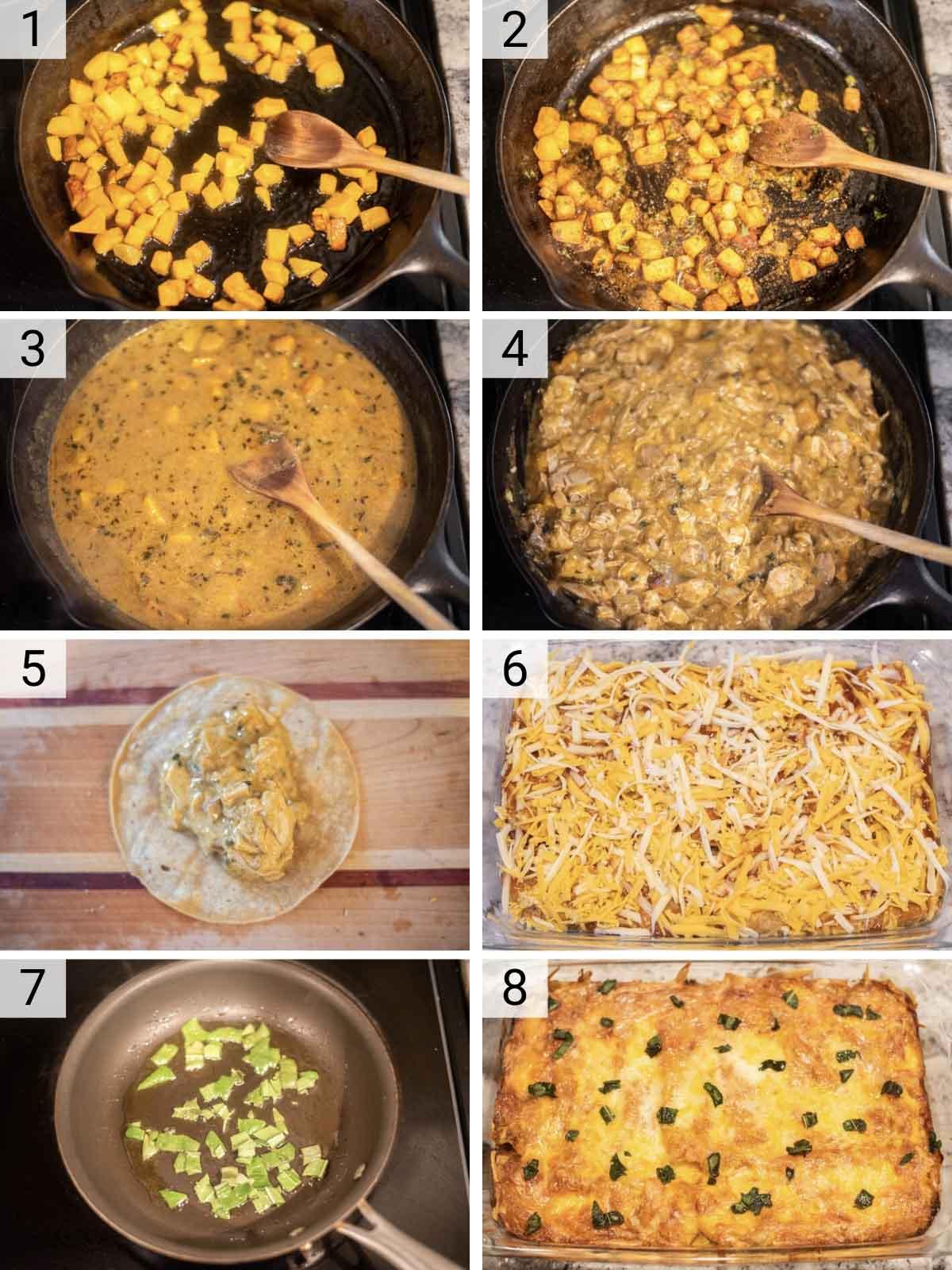 process shots of how to make turkey enchiladas