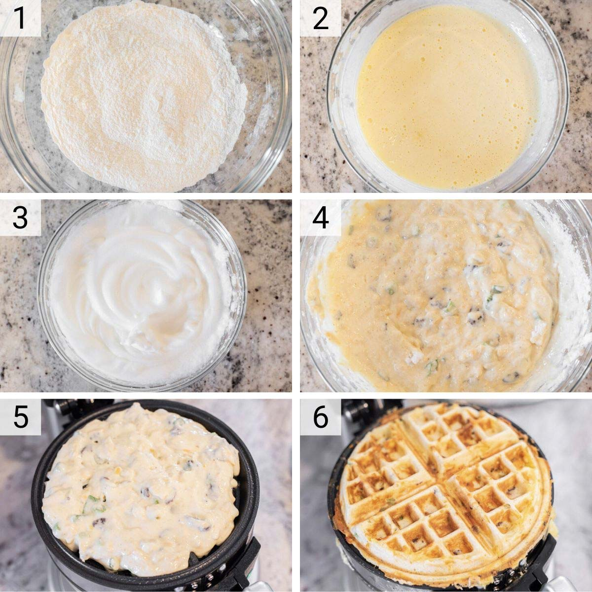 process shots of how to make waffles