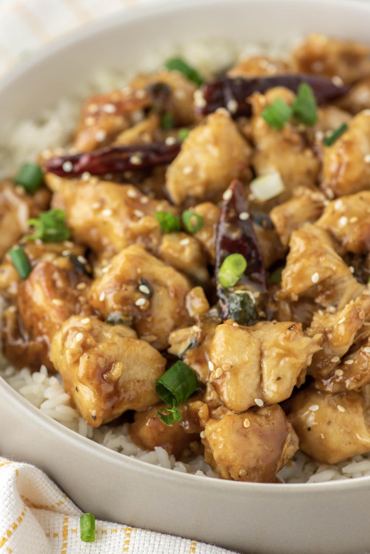 General Tso's chicken in grey bowl