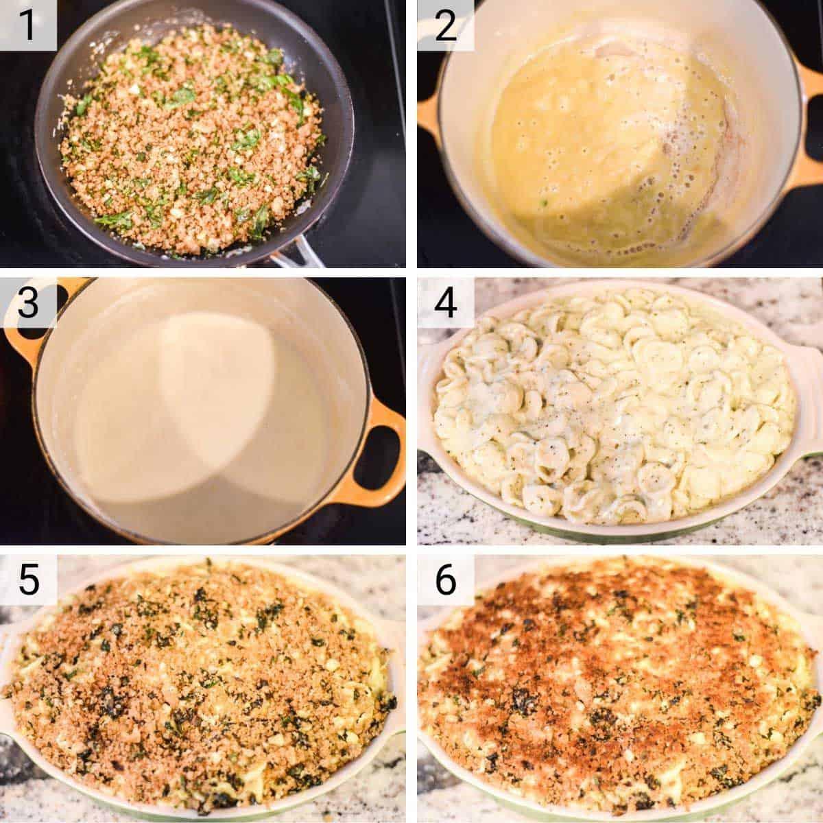 process shots of how to make pesto mac and cheese