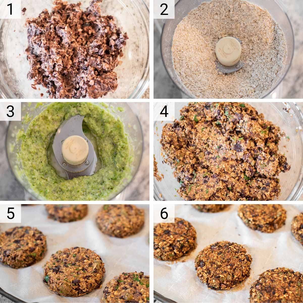 process shots of how to make black bean veggie burgers