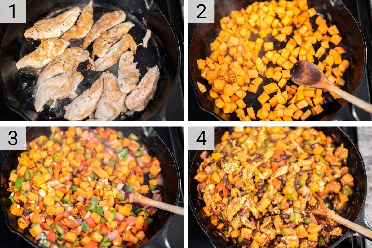process shots of how to make chicken sweet potato skillet