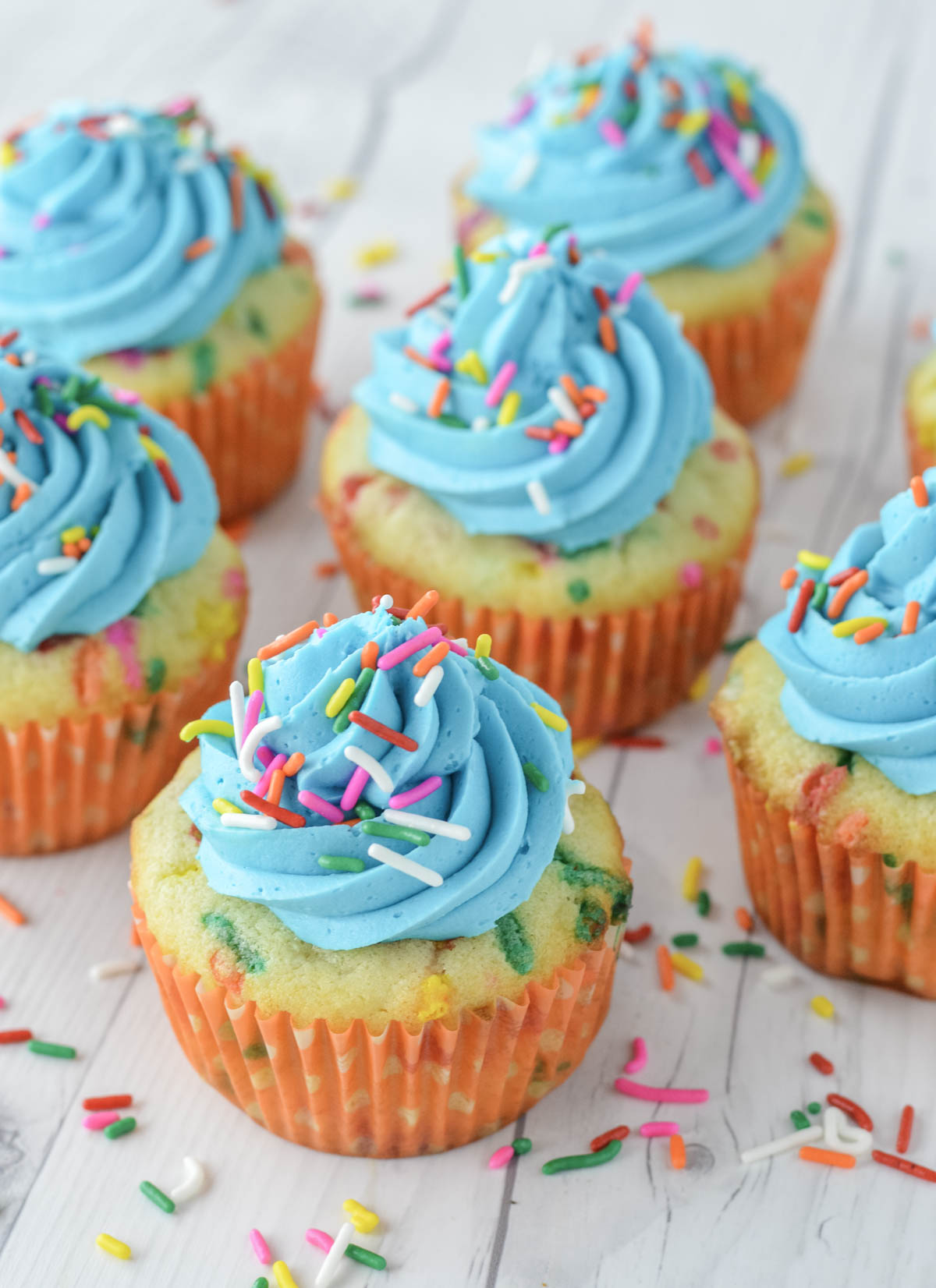 close-up of homemade funfetti cupcakes