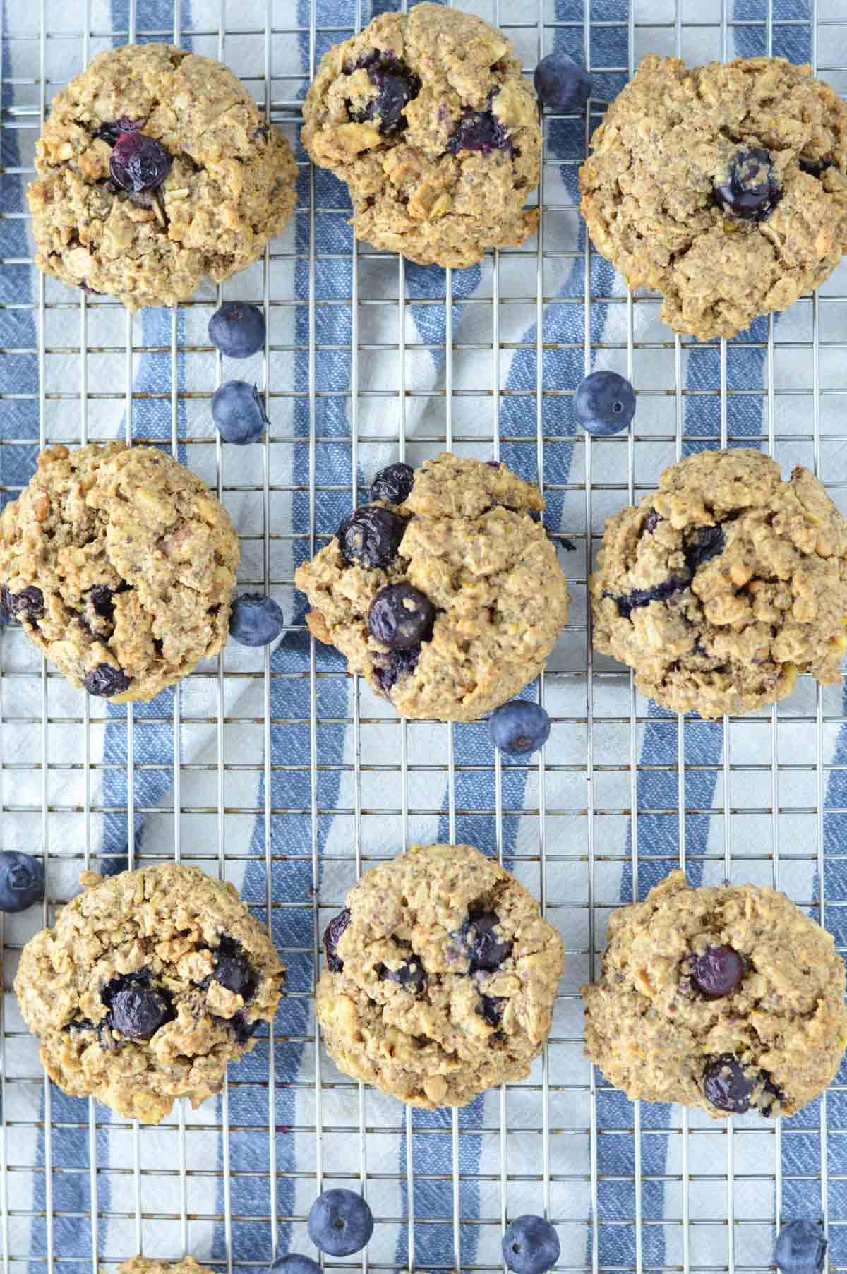 overhead shot of cookies on cooling rack