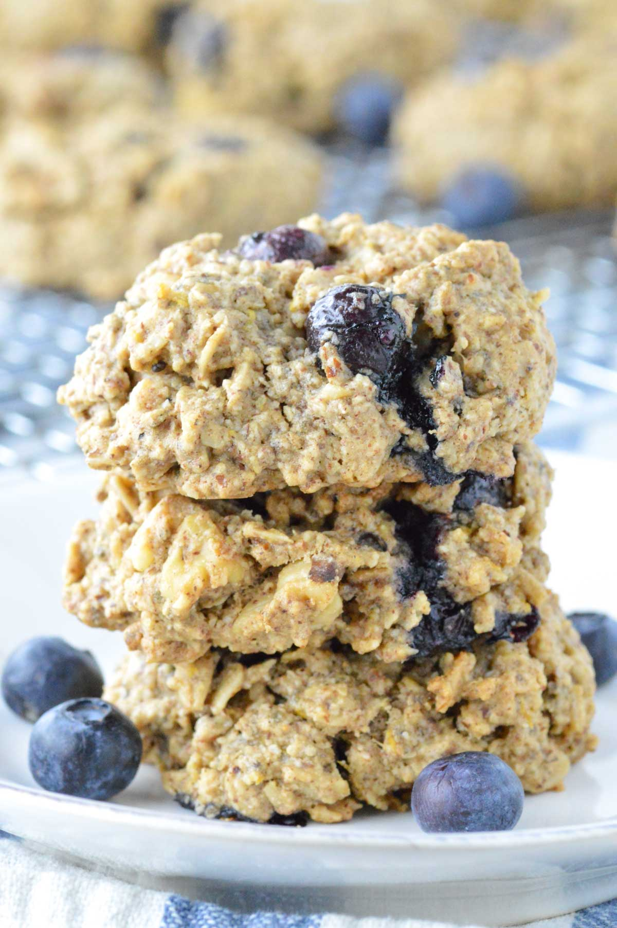 close-up of stacked lemon blueberry breakfast cookies