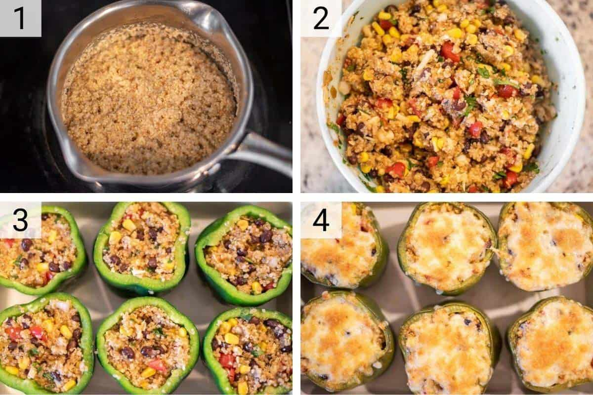 process shots of how to make stuffed peppers