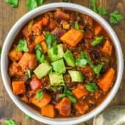 overhead shot of sweet potato chili in bowl
