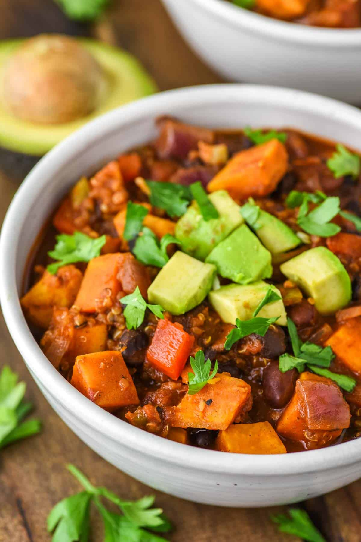 sweet potato chili in speckled bowl