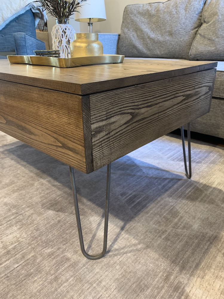 close-up of DIY lift top coffee table in living room