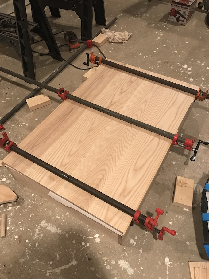 gluing four pieces of ash for top
