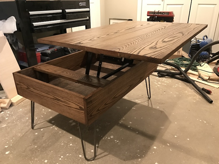photo of DIY lift top coffee table completed