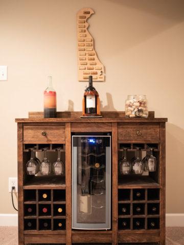 front shot of wine cooler cabinet