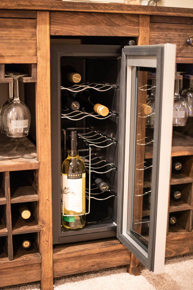 close-up of wine fridge