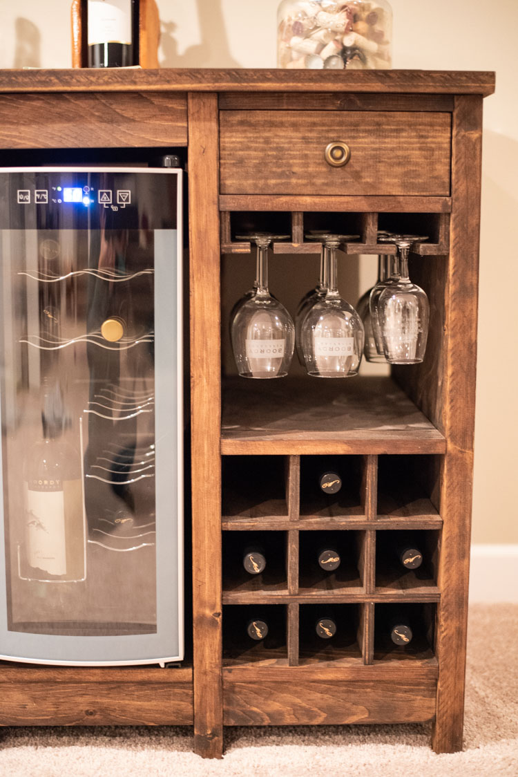 close-up of DIY wine cabinet