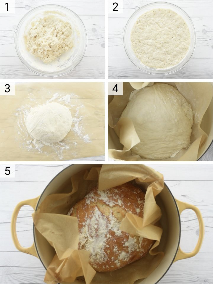 process shots of how to make no-knead dutch oven bread