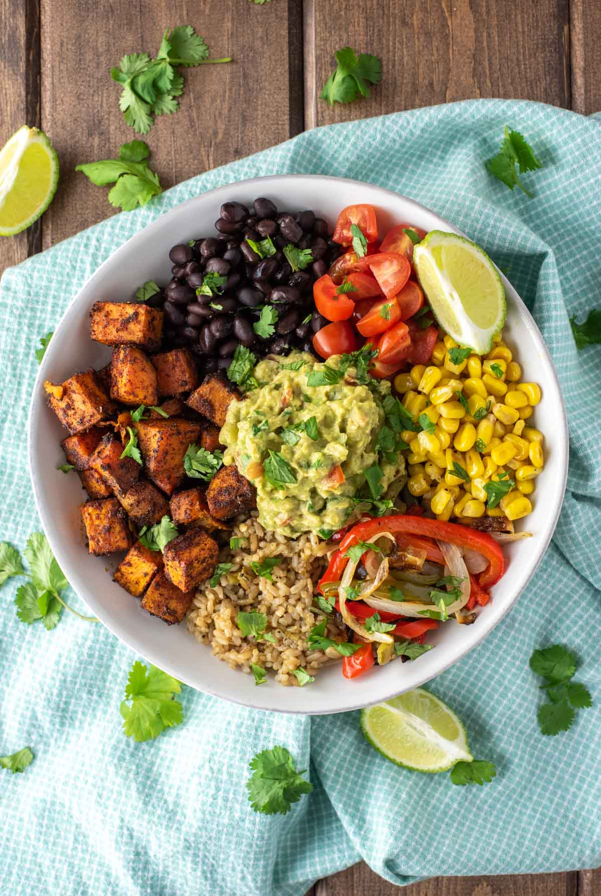 overhead shot of vegetarian burrito bowl in white bowl