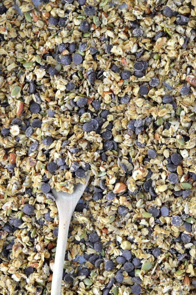 overhead shot of granola in pan