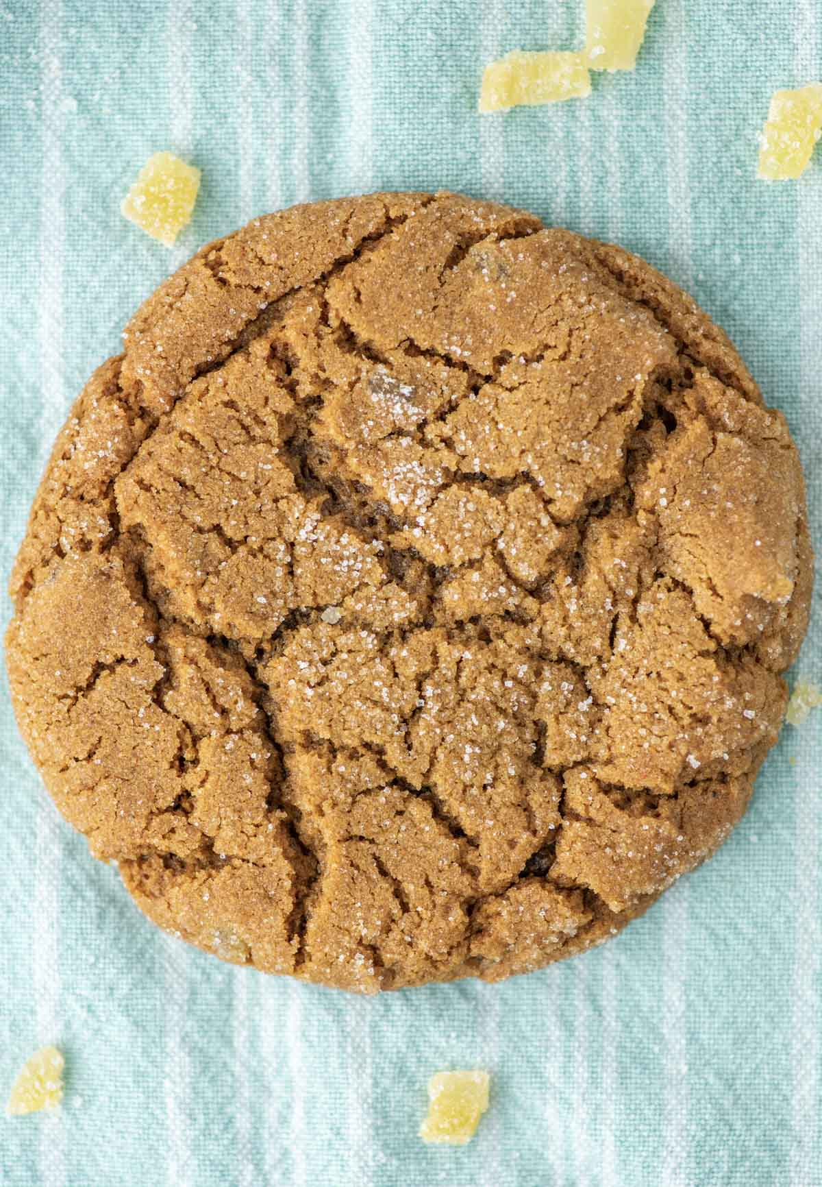 overhead shot of ginger cookie
