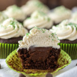 Irish Car Bomb cupcake cut in half