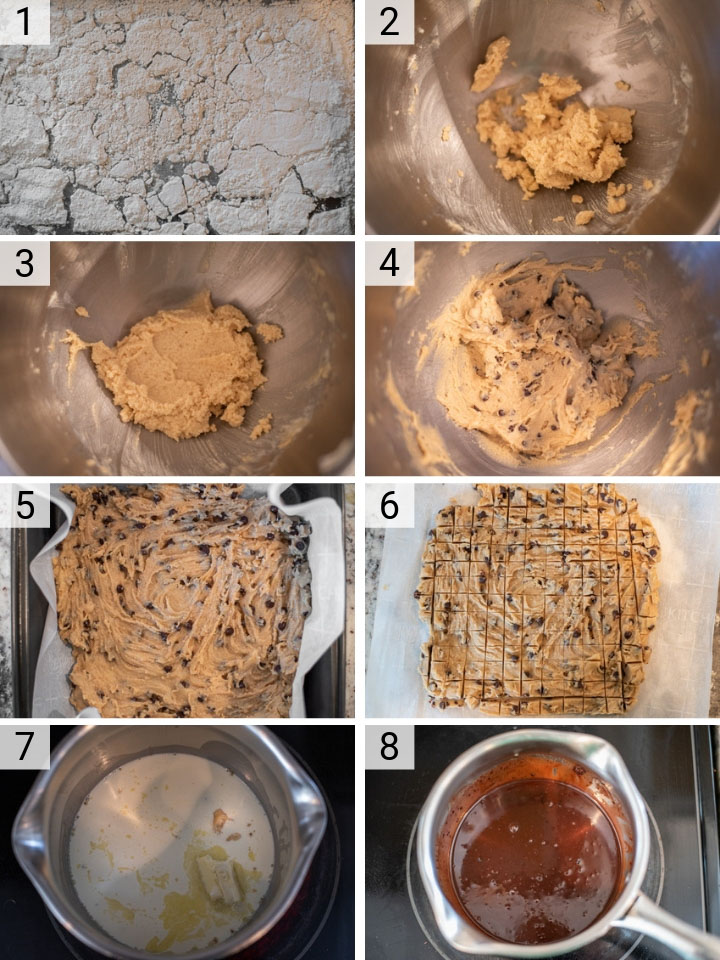 process shots of how to make malted cookie dough ice cream