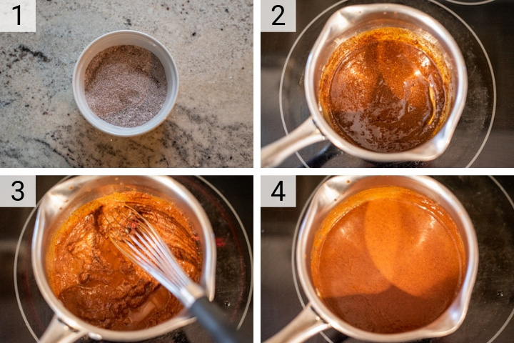 process shots of how to make red enchilada sauce