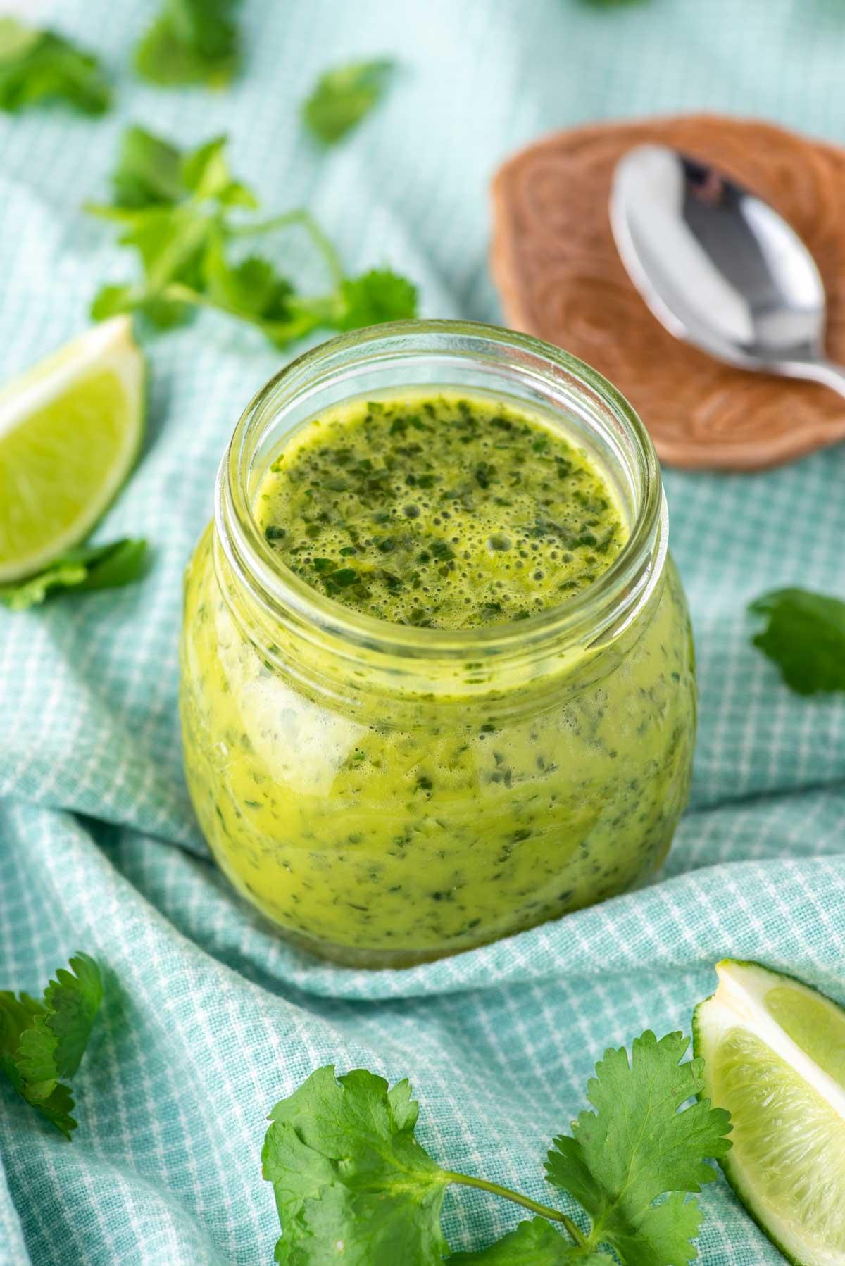 cilantro lime vinaigrette in glass jar