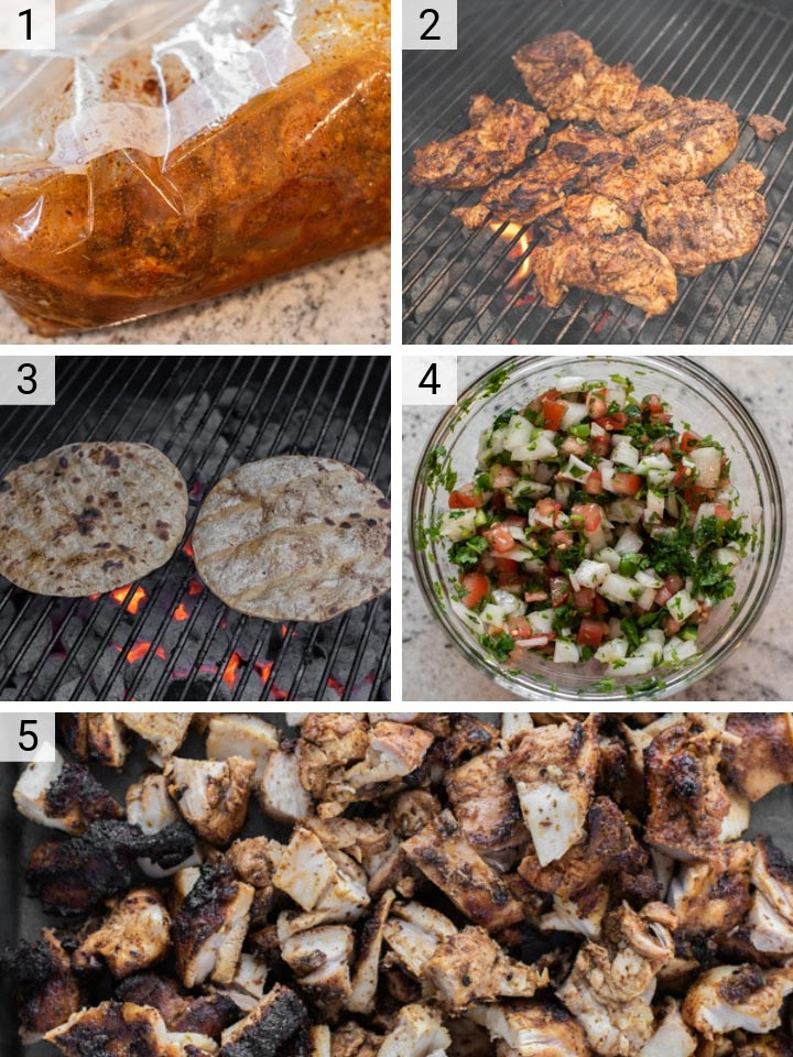 process shots of how to make grilled chicken tacos
