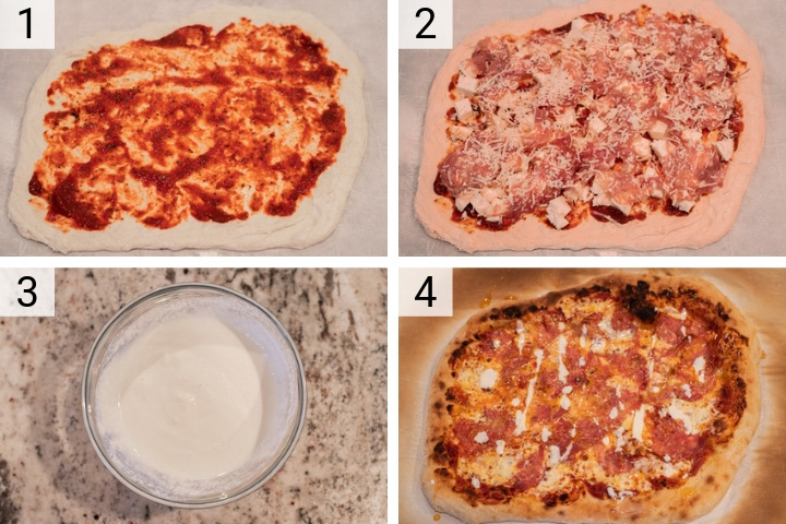 process shots of how to make honey-drizzled salami pizza