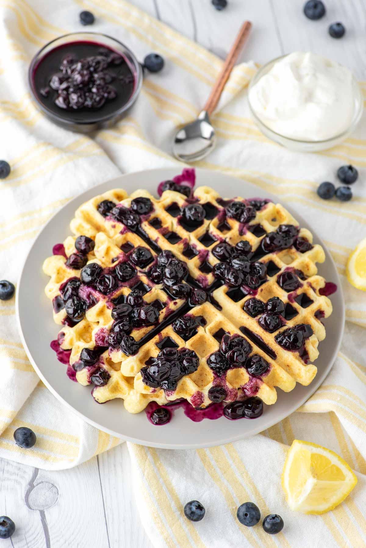 lemon ricotta waffles on dish towel