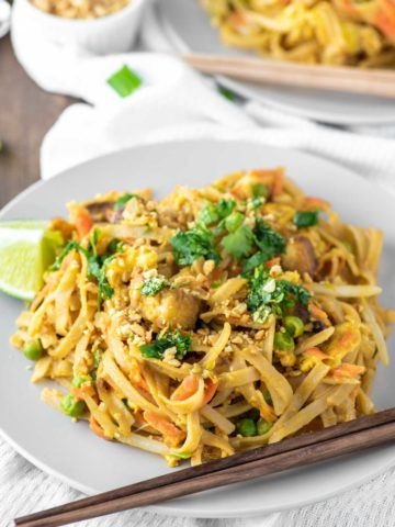 pad Thai on plate with chopsticks