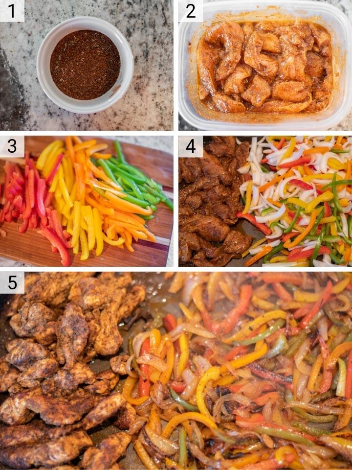 process shots of how to make sheet pan chicken fajitas
