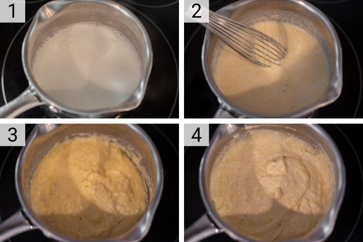 process shots of how to make goat cheese polenta