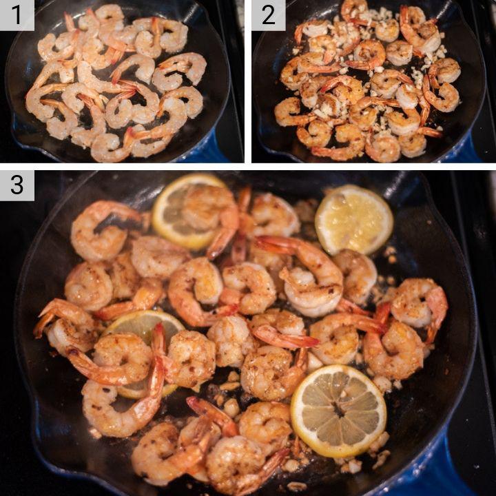 process shots of how to make lemon garlic butter shrimp