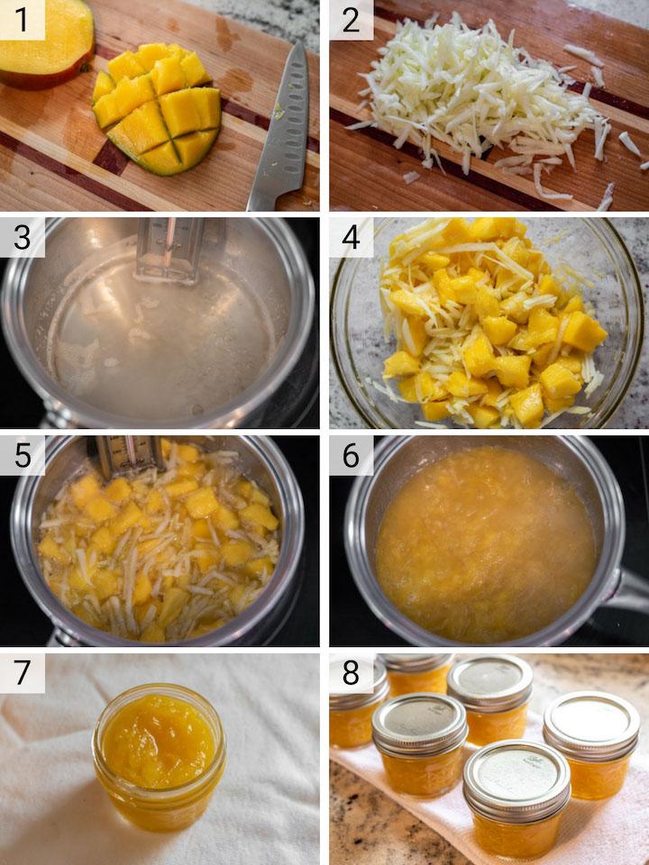 process shots of how to make mango jam