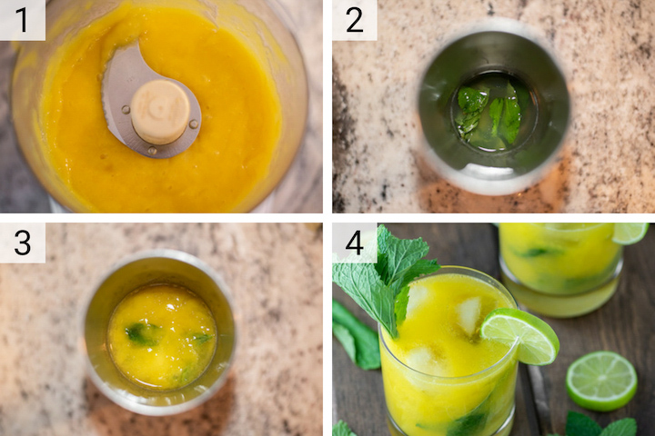 process shots of how to make mango mojito