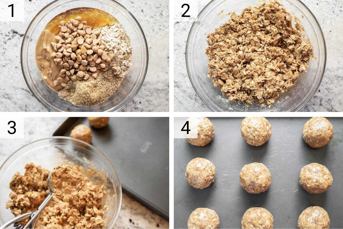 process shots of how to make peanut butter energy balls