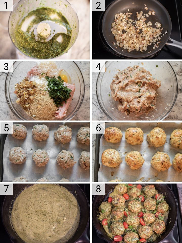 process shots of how to make chicken pesto meatballs