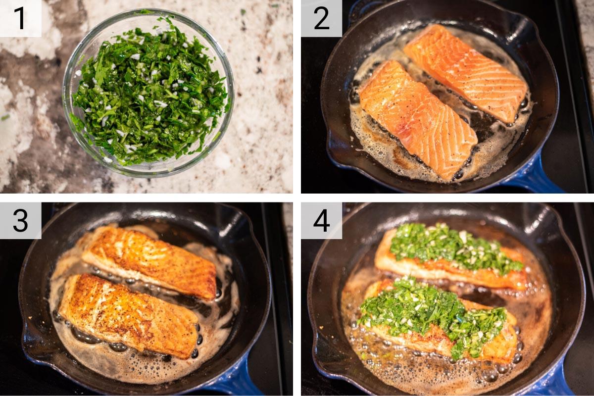 process shots of how to make chimichurri salmon