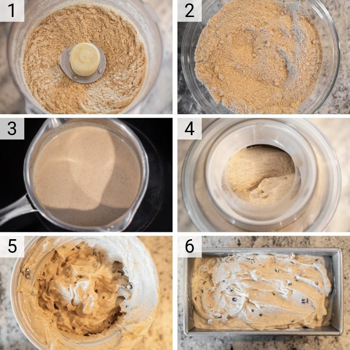 process shots of how to make graham cracker ice cream