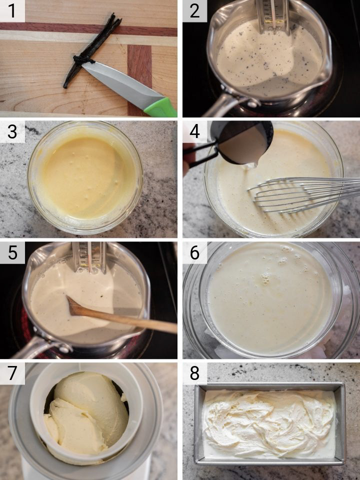 process shots of how to make vanilla bean ice cream