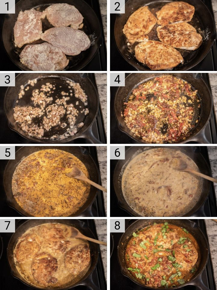 process shots of how to make sun-dried tomato chicken